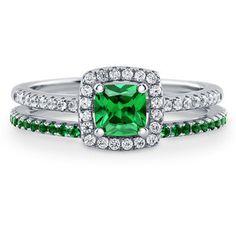 BERRICLE Silver Cushion Simulated Emerald CZ Halo Engagement Ring Set 0.89 Carat