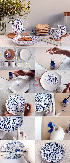 Most up-to-date Free Ceramics plates diy Ideas DIY Geschirr Clay Crafts, Diy And Crafts, Arts And Crafts, Diys, Diy Y Manualidades, Diy Upcycling, Ceramic Painting, Painted Ceramic Plates, Paint Plates