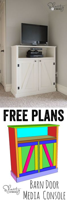 LOVE this barn door media console! FREE plans and a full tutorial! www.shanty-2-chic.com