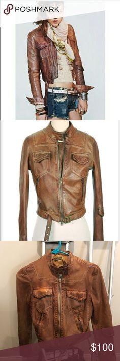"""Blur """"Mara"""" distressed leather jacket I purchased on Posh last week: to small for me I wear an 8-10 jacket it fits a small not medium.  I love this jacket sadly I can't wear.  My loss is your gain.  This is such a beautiful soft leather.  The color is brown it feels like a soft loved vintage jacket. Size 44 Color Brown Jackets & Coats"""