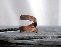 Rustic Latitude Longitude Ring, Copper - Custom Coordinates Open Wrap Ring - Landmark Jewelry, Unique Gift Under 30Personalized Spiral Ring