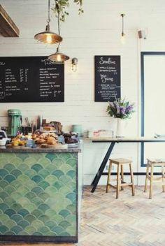 Scalloped Tile Island. London coffee shop, design by Florence De Bracey