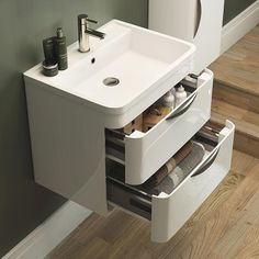 Bathroom Sink Units With Drawers harbour grace wall mounted vanity unit basin in gloss white PWQDCER - Kitchen Ideas Small Kitchen Sink, Bathroom Sink Units, Bathroom Cabinets, Bathroom Furniture, Bathroom Interior, Small Bathroom, Bathrooms, Bathroom Vanities, Sinks