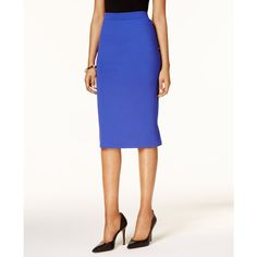Kasper Knit Midi Skirt ($50) ❤ liked on Polyvore featuring skirts, iris, white knee length pencil skirt, pencil skirt, mid calf skirts, white pencil skirts and calf length skirts