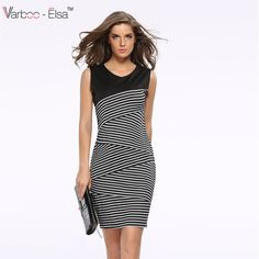 Find More Dresses Information about Elegant Women Summer V Neck Dress Black and white stripe Stitching Pencil Dresses Lady Knee Length Party  Dress A744,High Quality dress wear,China dresses pictures Suppliers, Cheap dress k from Sunflower Bridal 2 on Aliexpress.com
