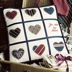 'You Stole My Heart' Pillow Sewing ePattern. Made with recycled neck ties. Click the photo to find the pattern on our website (download it for $2.99) - Leisure Arts, Inc.
