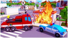Learn Colors & Vehicles Fire Truck & Police car w Racing Cars! 3D Animation Cars Team Cartoons