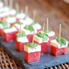 Watermelon, feta and basil appetizer bites - delicious!