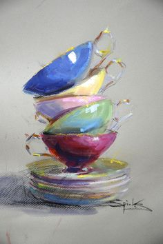 """Cups Half Full"" 18x12 By Johanna Spinks"