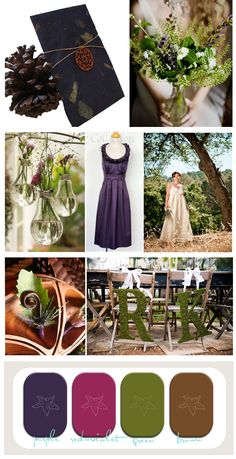 This is PERFECT. Fall + Green outdoors Wedding Theme. love this idea. green and purple.  A wedding inspiration board for purple and green fall wedding that is eco friendly and perfect for a Fall Wedding or Rustic wedding.