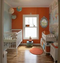 World Travel Nursery- LOVE IT!!! Like this one possibly enough to switch from aqua and orange Rain/cloud/sunshine theme to this travel the world theme.  Awesome.