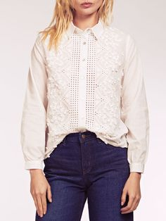Dahlia Christie White 3D Embroidery Collared Blouse Collar Blouse, Dahlia, Collars, Ruffle Blouse, Inspire, 3d, Embroidery, Long Sleeve, Sleeves