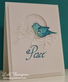 2-part bird punch (SU!), woodgrain embossing folder (Sizzix), dazzling diamonds, Stamping with Loll