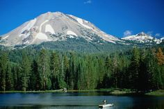 Lassen National Park, in Northern Caifornia. We went camping on this lake (Manzanita Lake with Mt Lassen in the background).