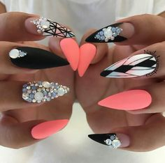 Neon Orange peach nails black and white negative space nail design