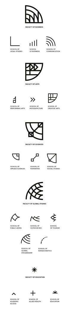 interesting idea - logos for each subheading  that when overlapped create the logo for the whole