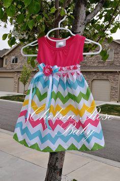 Gorgeous Chevron Baby and Toddler Dress, Baby Girl Dress, Riley Blake Chevron print, Designer Summer Dress, Baby Dress