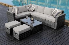 All of our rattan garden furniture range is made of PE rattan and can be left outside all year around. Cushions are water proof and washable (hand washing recommended). This range has been hand-made for highest possible standard, which combines thick flat weave and round weave finished in the edge areas and armrest. | eBay!