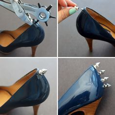 Basics: Studded Flats, Chucks, and Pumps How to add spikes to your heels - Now that ought to scare the heck out of one's frenemies.How to add spikes to your heels - Now that ought to scare the heck out of one's frenemies. Studded Converse, Diy Vetement, Shoe Crafts, Diy Clothing, Diy Fashion, Shoe Boots, Kitten Heels, Spikes, Slippers