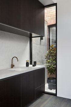 Whiting Architects is an architecture and interiors design practice based in Melbourne Australia. With over 25 years of experience providing full architectural services, interior design, , renovations, alterations and additions. Kitchen Interior, Kitchen Design, Kitchen Decor, Integrated Fridge, Wooden Dining Tables, Living Room Seating, Kitchen Tops, Black Kitchens, Minimalist Interior