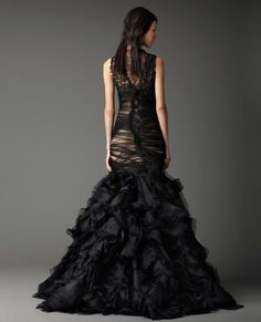 """Back of dark wedding gown - Vera Wang """"Witchcraft""""<<< i LOVE this and would sooo do this at my wedding"""