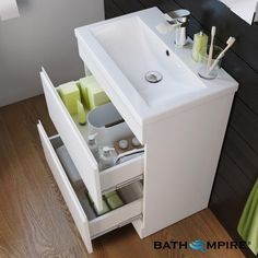Double Drawer Gloss White Floor Standing Basinunit | Trent - BathEmpire