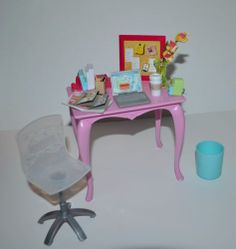 2006 Barbie Home Desk And Chair Bedroom Playset With Corgi Dog Laptop Lamp Waste Basket