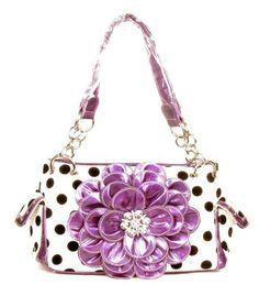 Polka Dot Metal Chain Purple Rhinestone Flower Purse - Handbags, Bling & More!