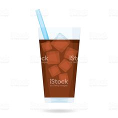 Vector illustration of iced coffee. Coffee Stock, Coffee Vector, Free Vector Art, Iced Coffee, Soda, Royalty, Graphic Design, Illustration, Royals
