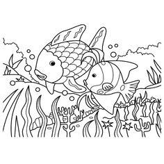 kleurplaat de mooiste vis van de zee rainbow fish coloring page library