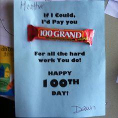 100 day of school sursie for teachers. Thank you Dawn!! :)