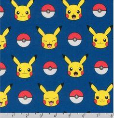Pokemon fabric Pikachu fabric Pokemon gift by FabricShoppe on Etsy