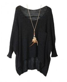 Black Batwing Sleeves Pullover with Single Patch Pocket