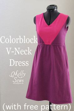 Sundress Tutorial for Women's V-Neck and Colorblocked Sundress with Free Pattern