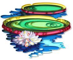 Vitória-régia (Brazilian typical flower from Amazon region), by Natasha Molatkova, from PaperGraphic Para lembrar o efeito do fundo feito com papel colorido, com quilling sobreposto.