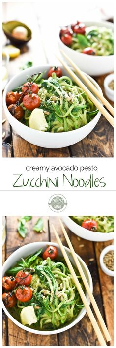 Creamy Avocado Pesto Zucchini Noodles with Burst Tomatoes | make this delicious paleo + vegan + gluten free dinner in only 15 minutes | theendlessmeal.com