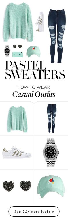 """Cute Casual  Pastel"" by micmak101 on Polyvore featuring Chicwish, Rolex, Kate Spade, adidas and pastelsweaters"