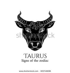 Signs of the zodiac. Black silhouette and white details. Vector illustration isolated on a white background. Taurus Bull, Zodiac Taurus, Black Silhouette, Moose Art, How To Draw Hands, Signs, Drawings, Illustration, Guitar