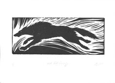 Black Wolf Running black and white  hand-pulled print 9x12