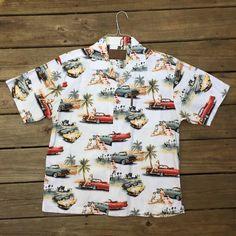 4a6cb85c Classic Cars and Pin-up Girls Hawaiian Shirt- Men's Vintage- Tiki Shirt-  Rockabilly- Vintage Cars- Tiki Shirt- Bikini Girls- Hot Rods- Aloha