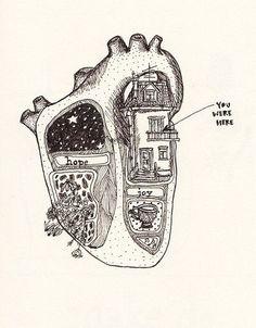 Art and illustrations of the human anatomy. Art And Illustration, Landscape Illustration, Heart Art, Art Inspo, Cool Art, Art Drawings, Music Drawings, Pencil Drawings, Art Photography