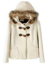 White Fur Hooded Horn Button Pockets Coat $72.9