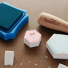 Stamp a quilt with these easy to carve hexagon stamps!