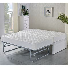 King Single White Bed Frame w Trundle, 2 Mattresses shopping, Buy SALE online at MyDeal for best deals, coupons, bargains, sales
