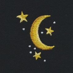 Gold Moon and Stars Embroidery On Clothes, Cute Embroidery, Shirt Embroidery, Embroidery Fashion, Simple Embroidery Designs, Hand Embroidery Patterns Free, Embroidery Stitches Tutorial, Broderie Anglaise Fabric, Diy Broderie
