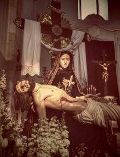 """allaboutmary: """" Maria SS. della Pietà The pietà venerated in the chiesa del Purgatorio (Purgatory church) in Molfetta, Italy. """" The Sixth Sword of Sorrow: Mary Receives the Dead Body of Jesus in Her Arms (John 19:38-40) The friends of Jesus, Joseph..."""