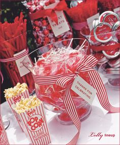 Candy buffets are always a welcome sight at any party! Set out little takeout boxes or other small containers that guests can use to make a take-home treat filled with their own favorite treats.