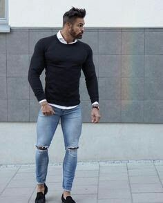 Ripped Jeans Outfit, Ripped Jeans Men, Skinny Jeans, Denim Men, Casual Wear, Casual Outfits, Men Casual, Mode Outfits, Jean Outfits