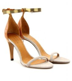 Isabel Marant Leather and Suede Sandals in Gray (mushroom)