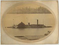 Civil War Union Ironclad U.S.S. Chocktaw Albumen. Along Mississippi River